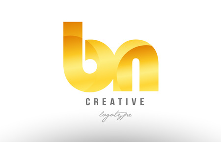Design of alphabet letter logo combination bn b n with gold golden metal gradient color for a company or business