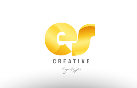 Design of alphabet letter logo combination es e s with gold golden metal gradient color for a company or business Stock Illustratie