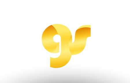Design of alphabet letter logo combination gs g s with gold golden metal gradient color for a company or business Illusztráció