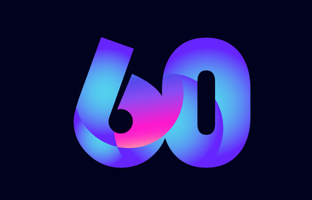 Design of number 60 pink blue gradient color suitable as a logo for a company or business