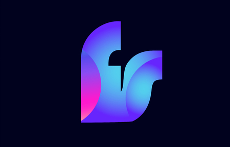 Design of alphabet letter combination fs f s pink blue gradient color suitable as a logo for a company or business Ilustração