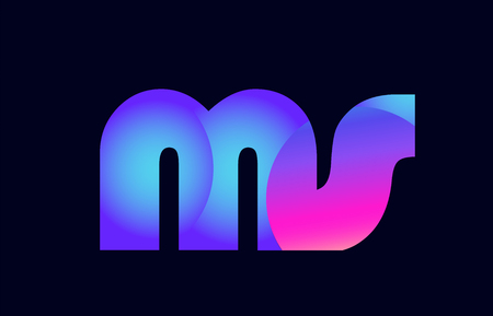 Design of alphabet letter combination ms m s pink blue gradient color suitable as a logo for a company or business
