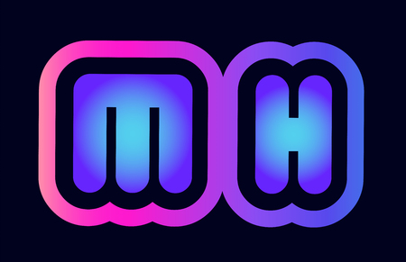 Design of alphabet combination letter mh m h pink blue gradient color suitable as a logo for a company or business