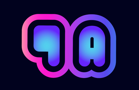 Design of alphabet combination letter qa q a pink blue gradient color suitable as a logo for a company or business