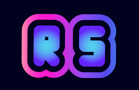 Design of alphabet combination letter rs r s pink blue gradient color suitable as a logo for a company or business