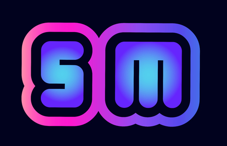 Design of alphabet combination letter sm s m pink blue gradient color suitable as a logo for a company or business