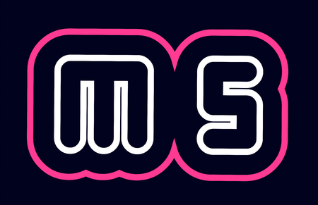 pink white blue alphabet combination letter ms m s logo design suitable for a company or business