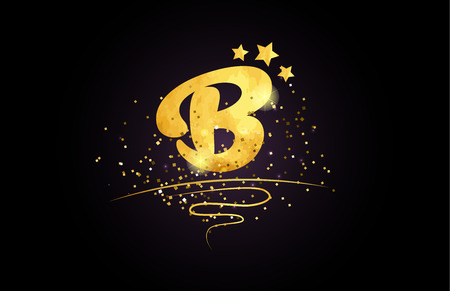 b letter alphabet with star and golden color suitable for card icon or typography logo design