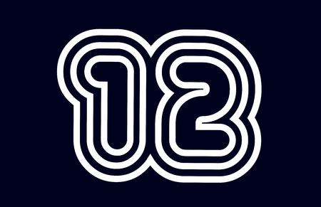 会社やビジネスに適した黒と白の番号12ロゴデザイン