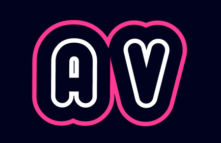 pink white blue alphabet combination letter av a v logo design suitable for a company or business Stock Vector - 114180248