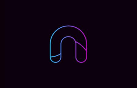 alfabet litera n logo projekt niebieski i różowy kolor odpowiedni dla firmy lub biznesu Logo