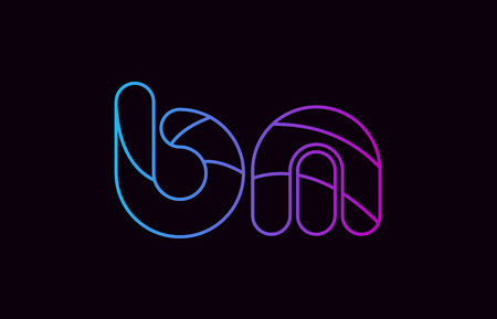 alphabet letter combination bm b m logo design blue and pink color suitable for a company or business Ilustração