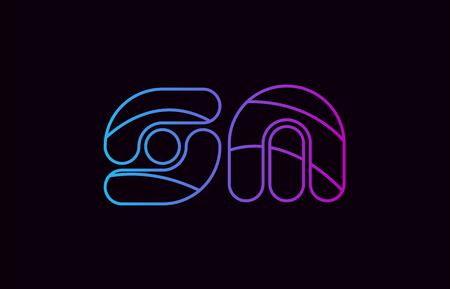 alphabet letter combination sm s m logo design blue and pink color suitable for a company or business
