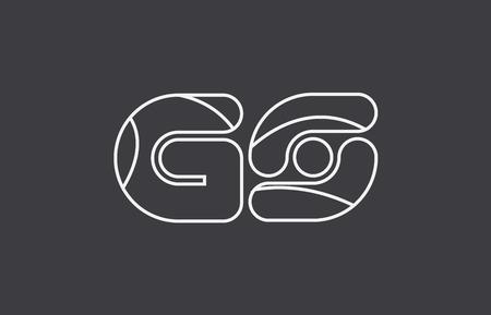 black white grey alphabet letter gs g s combination logo design suitable for a company or business Illusztráció