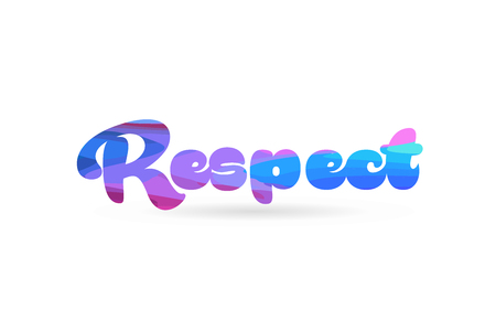 respect word with pink blue color suitable for card icon or typography logo design