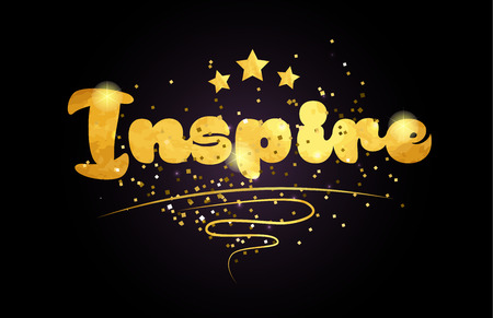 inspire word with star and golden color suitable for card icon or typography logo design