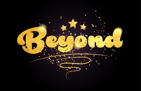 beyond word with star and golden color suitable for card icon or typography logo design