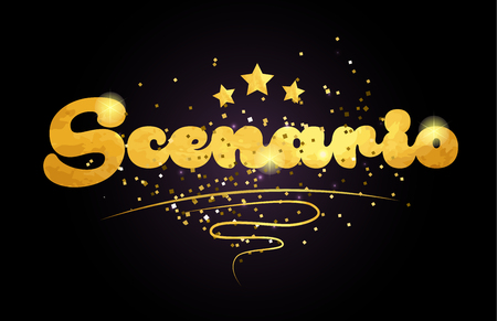 scenario word with star and golden color suitable for card icon or typography logo design