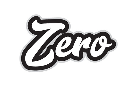 Null handgeschriebener Worttext für Typografie-Design in Schwarz-Weiß-Farbe. Kann für ein Logo, Branding oder eine Karte verwendet werden Logo