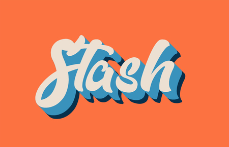 stash hand written word text for typography design in orange blue white color. Can be used for a logo, branding or card