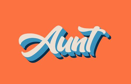 zia scritta a mano parola testo per il design tipografico in colore bianco blu arancio. Può essere utilizzato per un logo, un marchio o una carta