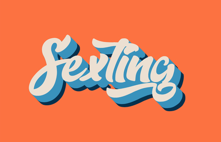 sexting hand written word text for typography design in orange blue white color. Can be used for a logo, branding or card