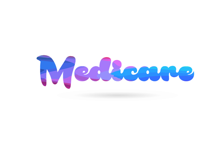 medicare word with pink blue color suitable for card icon or typography logo design