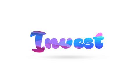 카드 아이콘 또는 타이포그래피 로고 디자인에 적합한 분홍색 파란색으로 단어 투자