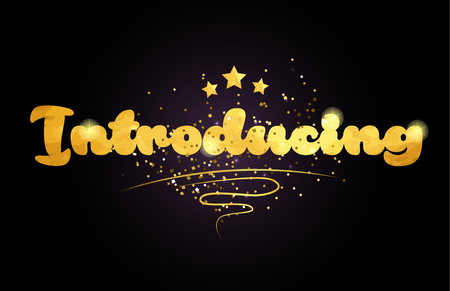 introducing word with star and golden color suitable for card icon or typography logo design