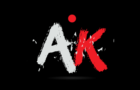 Design of alphabet letter combination AK A K on black background with grunge texture and white red color suitable as a logo for a company or business Logo