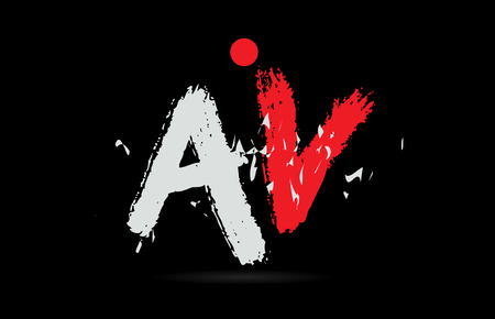 Design of alphabet letter combination AV A V on black background with grunge texture and white red color suitable as a logo for a company or business Illustration