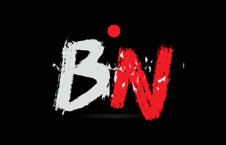 Design of alphabet letter combination BN B N on black background with grunge texture and white red color suitable as a logo for a company or business