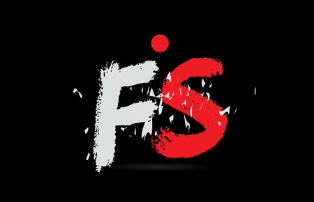 Design of alphabet letter combination FS F S on black background with grunge texture and white red color suitable as a logo for a company or business Ilustração