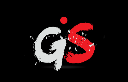 Design of alphabet letter combination GS G S on black background with grunge texture and white red color suitable as a logo for a company or business