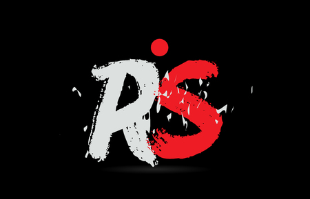 Design of alphabet letter combination RS R S on black background with grunge texture and white red color suitable as a logo for a company or business Logó