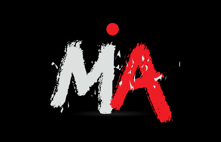 Design of alphabet letter combination MA M A on black background with grunge texture and white red color suitable as a logo for a company or business