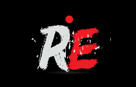 Design of alphabet letter combination RE R E on black background with grunge texture and white red color suitable as a logo for a company or business Illustration