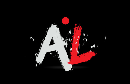 Design of alphabet letter combination AL A L on black background with grunge texture and white red color suitable as a logo for a company or business Ilustração