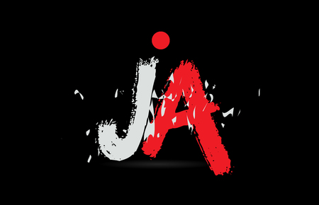 Design of alphabet letter combination JA J A on black background with grunge texture and white red color suitable as a logo for a company or business Illustration