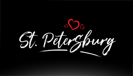 st petersburg city hand written text with red heart suitable for logo or typography design