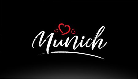 munich city hand written text with red heart suitable for logo or typography design