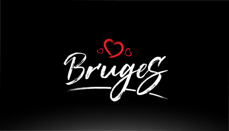 bruges city hand written text with red heart suitable for logo or typography design