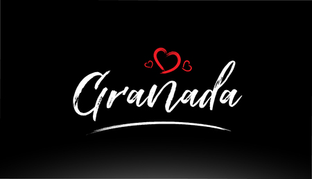 granada city hand written text with red heart suitable for logo or typography design