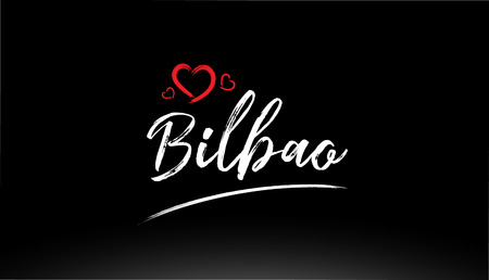 bilbao city hand written text with red heart suitable for logo or typography design Illustration