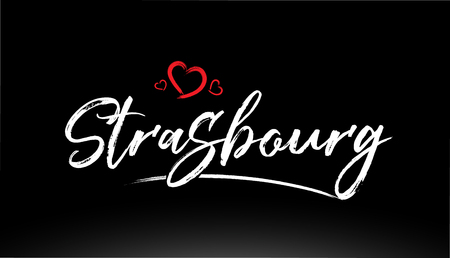strasbourg city hand written text with red heart suitable for logo or typography design Illustration