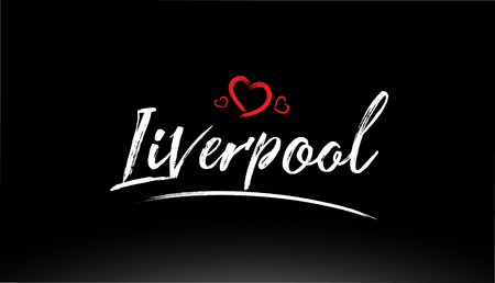 liverpool city hand written text with red heart suitable for logo or typography design Illustration
