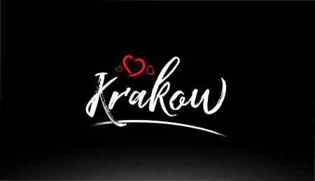 krakow city hand written text with red heart suitable for logo or typography design Иллюстрация