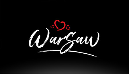 warsaw city hand written text with red heart suitable for logo or typography design