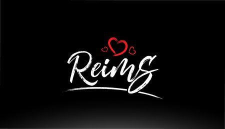 reims city hand written text with red heart suitable for logo or typography design Illustration