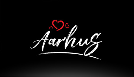 aarhus city hand written text with red heart suitable for logo or typography design Illustration